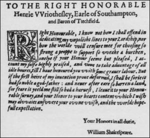 "Dedication of ""Venus and Adonis"" to Southampton - 1593"