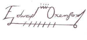 "Edward de Vere's ""crown"" signature that he used on letters to William and Robert Cecil from 1569 until the death of Queen Elizabeth in 1603"