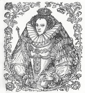 Queen Elizabeth I Of England Flanked By Tudor Roses And Eglantine