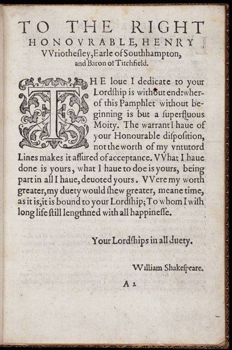"""Lucrece"" dedication to Southampton - 1594"