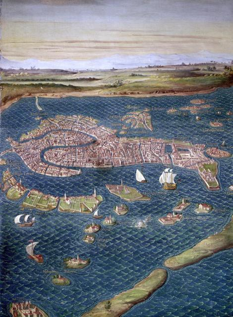 A 16th-century map of Venice