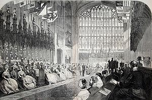 "St. George Chapel at Windsor Castle, where each Knight is allotted an ""installment"" or stall"