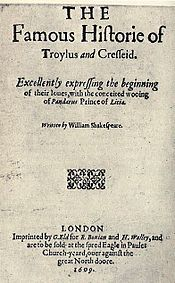 """Troilus and Cressida""(2nd Title Page 1609)"