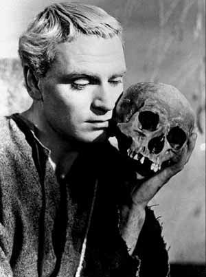 Olivier as Hamlet, with the skull of the jester