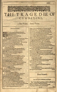"""Cymbeline"" - printed first in the 1623 folio"