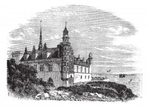 "Castle Kronborg at Elsinore -- the setting for ""Hamlet, Prince of Denmark"""