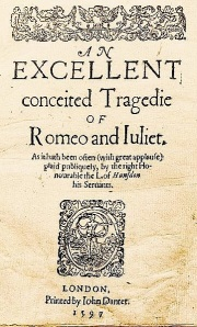 """Romeo and Juliet"" First Quarto - 1597 (No Author's Name)"