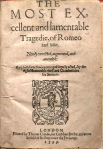 "Title Page of the Second Quarto of ""Romeo and Juliet"" -- in 1599, but still with no author name attached..."