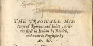 "Top half of the Title Page of ""Tragicall Historye of Romeus and Juliet"" in 1562"