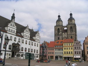 Wittenberg - Market Square looking much as it did in 1502, when the university (attended by Hamlet in the play) was founded