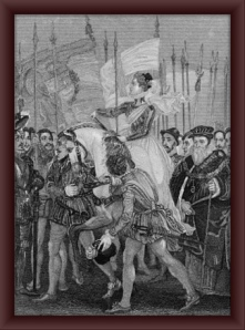 Queen Elizabeth with the troops at Tilbury as the Spanish armada arrived