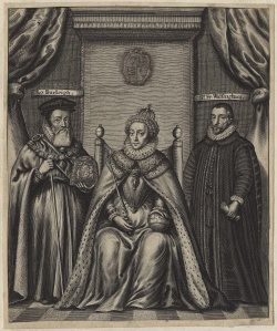 Queen Elizabeth, flanked by Lord Burghley and Sir Francis Walsingham