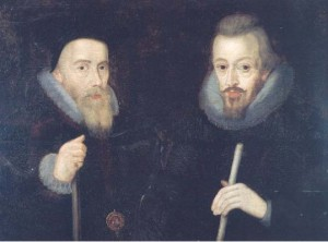William Cecil Lord Burghley (l) and his son Robert Cecil (r)
