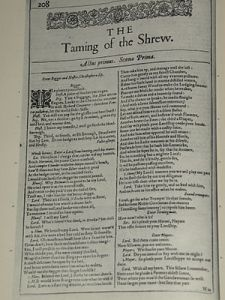 """The Taming of the Shrew"" in the First Folio of Shakespeare plays in 1623"