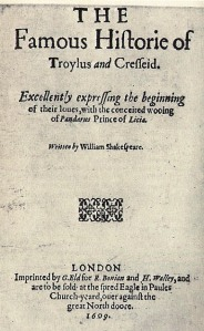 Troilus and Cressida 1609 (Second Title Page of the first quarto)