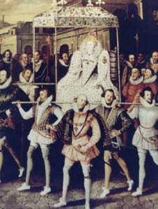 "Centerpiece of canvas attributed to Robert Peake called ""Queen Elizabeth going in Procession to Blackfriars in 1600"""
