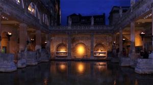 Roman Bath at the City of Bath, nighttime
