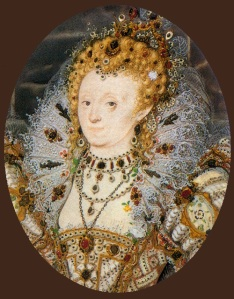 Elizabeth I with a crescent moon jewel in her hair with three pearl droplets on her forehead -- Nicholas Hilliard miniature circa 1595-1600